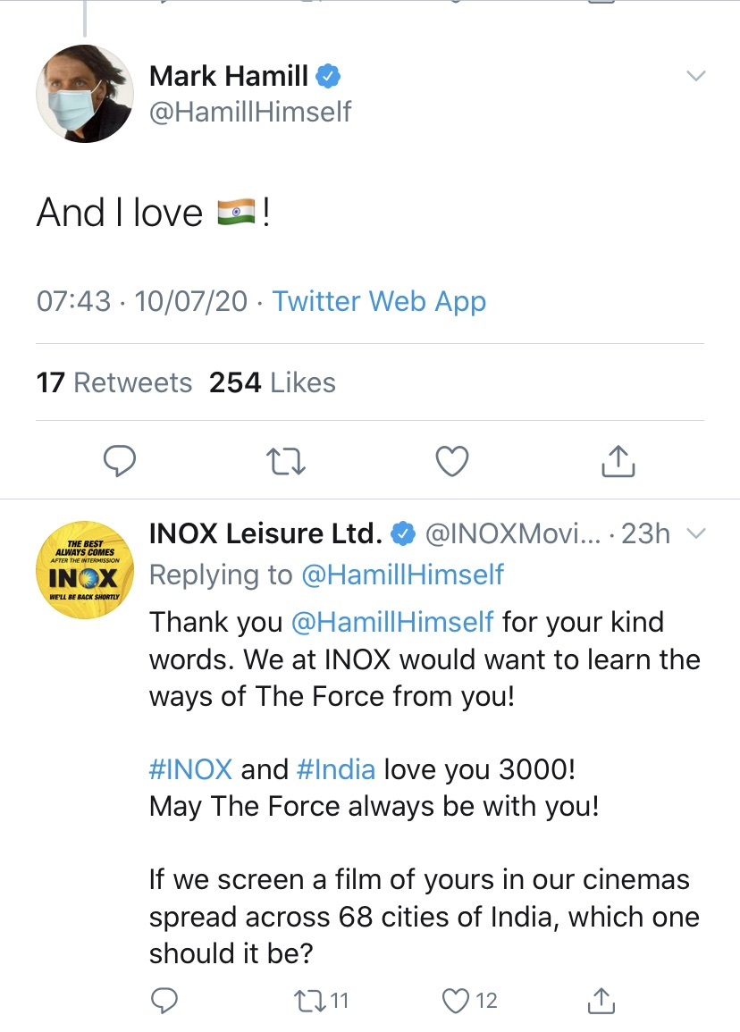 Star Wars Hero Mark Hamill Aka Luke Skywalker Shows His Love For India In Response To Inox Tweet Mark hamill (born in oakland, california on september 25, 1951) is an actor, best known for his portrayal of luke skywalker in the original and sequel star wars trilogy and as the joker in various media, starting with batman: star wars hero mark hamill aka luke